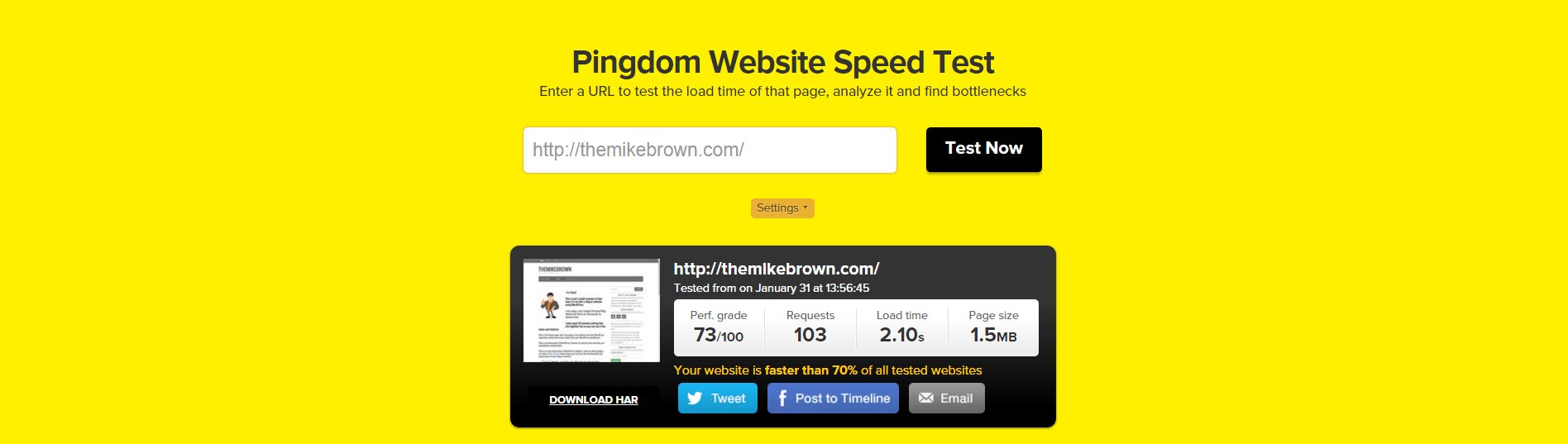 TheMikeBrown.com_Speed_Test_Results_Pingdom