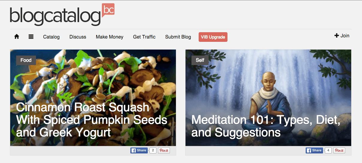 BlogCatalog Screenshot