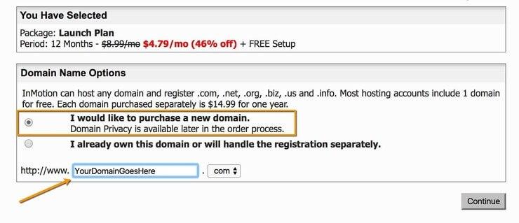 Order Process Select Domain Name