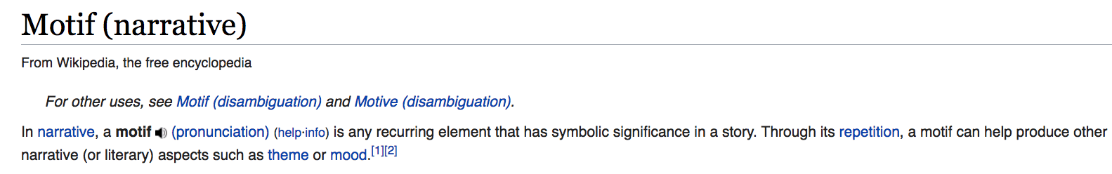 Wikipedia definition of motif